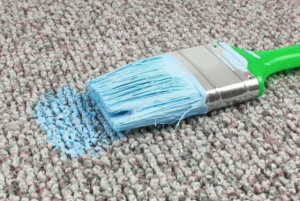 green paint on carpet